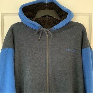 Volcom Sherpa Lined Full Zip Hoodie Sz XL